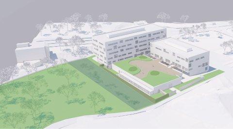 Slik ser de for seg den nye politistasjonen med park bak.