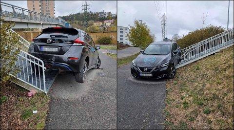 Slik ble bilen stående etter at taxisjåføren hadde rygget opp en trapp på nedsiden av Rema 1000 Etterstad mandag ettermiddag.