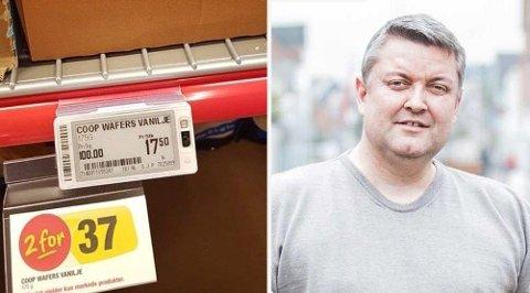 KJENT PROBLEMSTILLING: Rune Nicolaisen, som står bak Gjerrigknark.com, sier det finnes mange slike tilbud rundt omkring i butikkene. Foto: privat/Facebook