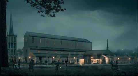 NYBYGG: Bodø kirkelige fellesråd planlegger å renovere eksisterende bygg og bygge nytt. I bildet ser vi et av forslagene til nybygg.