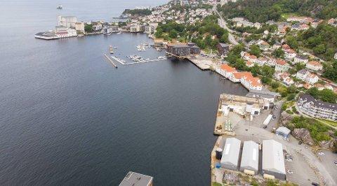Profier har kjøpt Hegreneset (oppe til venstre), den såkalte Lerøy-tomten (mellom Elsesro Brygge og de hvite sjøbodene der Mowi har hovedkontor) og Lehmkulstranden, inkludert branntomten (nederst til høyre) ved kai- og sjøområdet der Saltimport holder til i dag.
