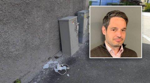 Slik så det ut utenfor bygningen der Tor Maarten Parlevliet har en leilighet han leier ut. Den knuste lampen er nå ryddet opp av leietakerne hans.