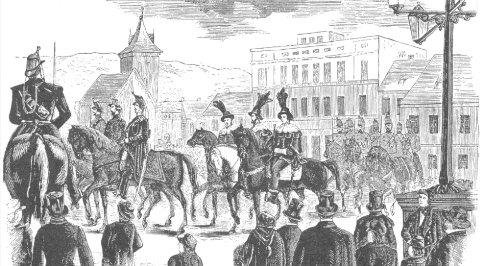 """Stortingets åpning: Vinje karakteriserte Stortingets åpning som """"den mest rystende Komik"""" i artikkelen han skrev for Drammens Tidende. Tegningen er fra Illustrert Nyhetsblad i 1857."""