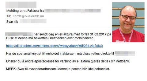 Slik såg den eine fakturaen Jan Roar Sekkelsten frå Førde fekk på epost. No åtvarar han andre mot svindel.