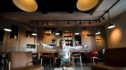 Tar sats: Daglig leder Merete Lie og hennes stab jobber knallhardt for å få Litteraturhuset til å gå rundt. Det er ikke enkelt, men i dag kan de glede seg over et flott høydepunkt.foto: Erik Hagen