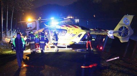 Ambulansehelikopeter ble tilkalt og kom raskt til stedet etter ulykken.