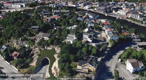 Skisse av de to planlagte eneboligene på Bjølstadfjellet. Planutvalget ga tommelen opp for planene – med knappest mulig margin.
