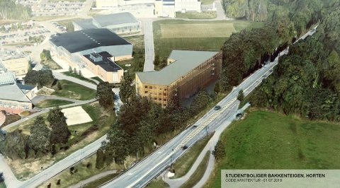 NYE BOLIGER: Tegningene av de nye studentboligene viser hvor bygget blir liggende på campus. Et enstemmig hovedutvalg sa ja til planen.
