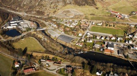 Oversiktsbilde over Figgjo bydel. Tomten ligger til venstre i bildet, like ved Figgjo AS.