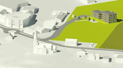BLOKKER: Modellen viser hvordan sentrum blir med de to blokkene. Sand kirke og Samling til venstre.