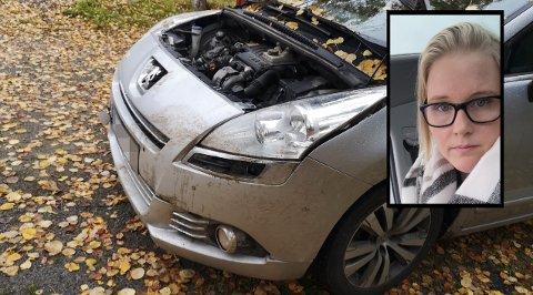 UVENTET: – Det er ikke et dyr man tenker det er risiko for å kjøre på, sier Ida Caroline Græsberg. Slik så bilen hennes ut etter påkjørselen.