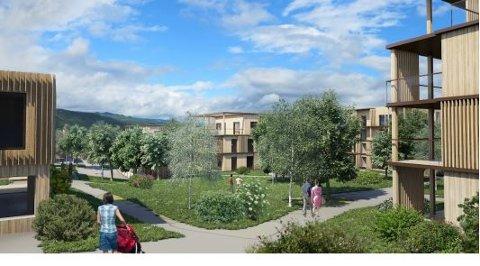 KOMPROMISS: Hagejordet-utbyggingen foreslås som en blanding av lave blokker og konsentrert småhusbebyggelse..