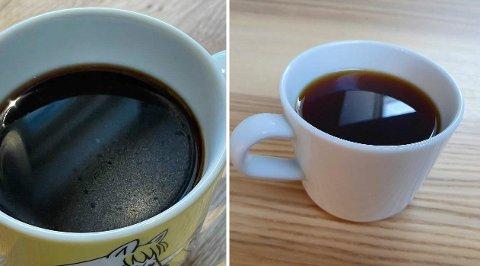 Det er ikke nødvendigvis stor smaksforskjell på disse to koppene med kaffe, men kaffen til venstre innholder mye kaffefett, den til høyre gjøre ikke det.
