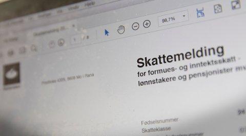 Skattemelding 2016 på en laptop skjerm. Foto: Terje Bendiksby / NTB