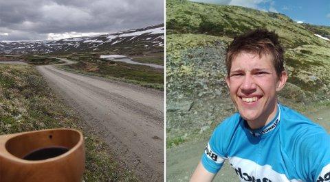 FRA TRONDHEIM TIL HALDEN PÅ TO HJUL: Haldenser og student Andreas Andersen Hennig sykler for tredje året på rad hjem etter endt studieår.