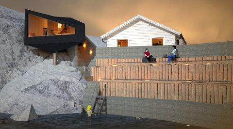 SJØBAD: Planen er å etablere en badstue på området som skal være tilgjengelig for allmennheten.