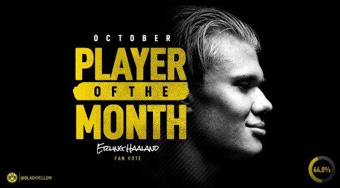 IMPONERT: Erling Braut Haaland er månedens spiller i Dortmund etter å ha scoret fem mål i oktober.