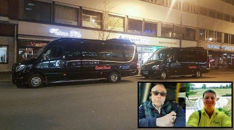 KJØRER FOLK HJEM: Lennart Jacobowitz (t.v) og John Erling Guvåg bruker drosjene sine til å kjøre festglade innbyggere hjem til Romerike i helgene. De reisende plukkes opp i Roald Amundsens gate ved Rådhuset i Oslo.