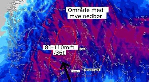 Skjermdump fra meteorologene på Twitter.
