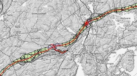 FORELØPIG: Dette er foreløpig det siste forslaget til ny E18-trase gjennom Kragerø. Det vil komme nytt, oppdatert kart i løpet av neste uke. FOTO: