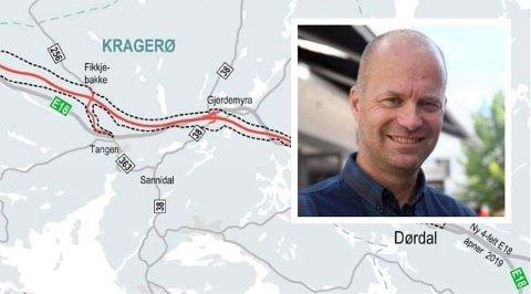 SPLEISELAG: Kragerø og de andre sju involverte kommunene spleiser på årslønna til E18-koordinator Håkon Håversen.