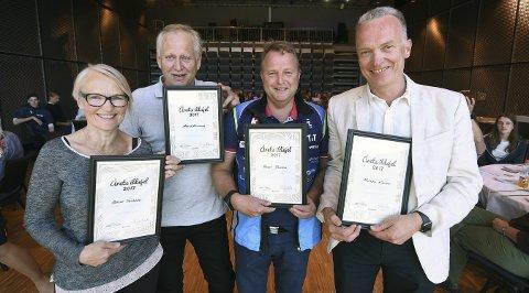 2017: Lps ildsjelsprisvinnere 2017. Fra venstre: Grete Solberg, Magne Gaarder, Roger Rustand og Morten Karlsen.FOTO: OLE JOHN HOSTVEDT