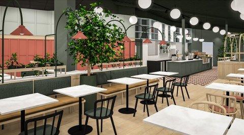 NYTT KONSEPT: Dette er en illustrasjon av hvordan Jordbærpikenes nye kafé kommer til å se ut.