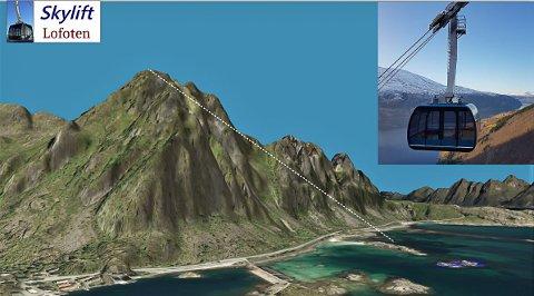 """GONDOL: Del en av """"Lofoten Skylift"""" er en gondolbane opp til toppen av Fløya. Høydeforksjllen vil være omlag 560 meter og kabellengden omlag 1000 meter. Turen opp vil ta omlag fire minutter, og kapasitet bør være omlag 500 personer i timen, skriver initiativtakeren."""
