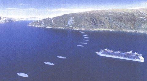 Rørbru: Slik kan en rørbru se ut fra overflaten. Store skip kan passere uten problemer. Illustrasjon Tor J. Sibbern