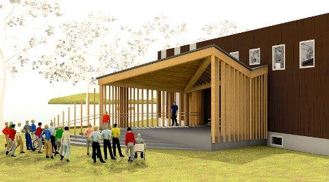 TEGNING: Den nye scenen ved Speiderhuset i Nesparken skal stå klar til våren. (Illustrasjon: Østavind Arkitekter) SVEIP FOR FLERE BILDER