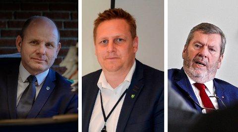 KORONATILTAK: Våler-ordfører Reidar Kaabbel (Sp), Råde-ordfører René Rafshol (H) og Vestby-ordfører Tom Anders Ludvigsen (Ap) jobber alle tett på håndteringen av koronapandemien.