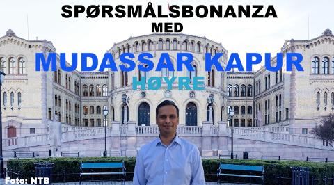 Mudassar Kapur konkurrerer mot blant annet Audun Lysbakken i vår videoserie. Foto: NTB og Kaja Stoltenberg