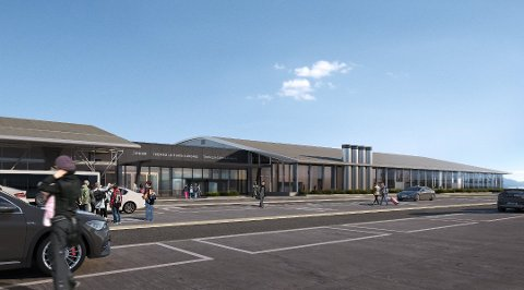 MODERNE: Det nye terminalbygget sett fra vest. Bygget vil bli på rundt 10.000 kvadratmeter og inneholde utenlandsterminal og nytt bagasjeanlegg.