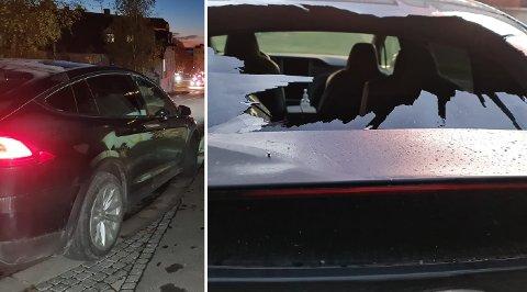 SKADER PÅ BILEN: Det oppstod materielle skader på bilen i forbindelse med uhellet tirsdag morgen.