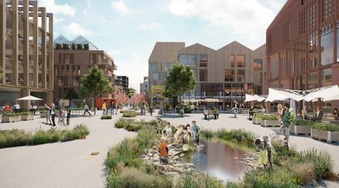 NY BYDEL: Slik kan det se ut på Moerjordet i fremtiden, i følge Aase Utvikling AS og arkitektkontoret Alab. Men det vil være uklokt å bygge tungt på rasutsatt leire, mener artikkelforfatteren. Foto: Alab/Aase Utvikling AS