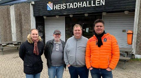 VIL ROE NED: Lars Erik Andersen (Brevik arbeiderlag), Rolf Ejme (Heistad arbeiderlag), Stein Haugland (Sandøya arbeiderlag) og Stig Kolbjørnsen (Brevik arbeiderlag) ønsker å forsikre lokalbefolkningen om at de vil gjøre det de kan for at svømmehallene holdes åpne.
