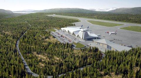 ANLEGG: I dette området skal flyplassen anlegges, men før det skjer må Avinor ha en anleggskonsesjon fra Statsforvalteren i Nordland. SFNO antyder at dette kan skje før sommeren.