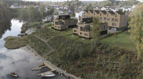 VED ELVA: De planlagte boligene blir liggende sydvent ved Randselva.