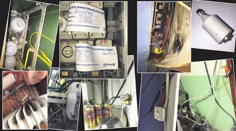 ØYEBLIKKELIG STENGT: Her er noen av bildene eltilsynet tok under inspeksjonen i mai. Sikring manipulert med kobbertråd, vann i sikringsskap, utstrakt bruk av skjøteledninger og åpne, strømførende installasjoner var blant funnene. FOTO: HAFSLUND
