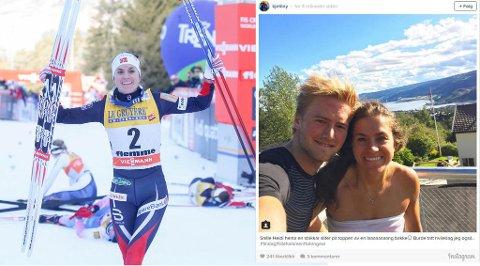 KJÆRESTER: Heidi Weng vant Tour de Ski i suveren stil søndag. I sommer fant hun tonen med Kjetil Nygaard, som har postet det flotte bildet av paret på Instagram.