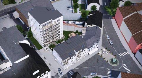 BLIR IKKE SÅ HØYT: Den åtte etasjer høye blokka ved Chr. Hvidts Plass blir ikke så høy den dagen Halvorsenkvartalet står ferdig. (Illustrasjon: Spir Arkitekter)