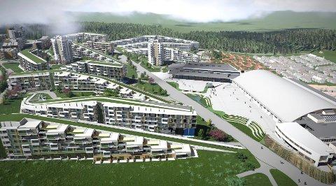GIGANTPROSJEKT: Byggingen på Oslofjord har pågått siden 2013, og skal i hovedsak være i mål i denne omgang i 2021. Siste etappe er et tilbygg til konferansesenteret (grått i midten) som vil koste over 200 millioner kroner. (Illustrasjon: Niels Torp as Arkitekter)