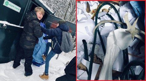 UNØDVENDIG: Christian Bakken Johannessen (12) og klassekameratene hans måtte rydde opp i kildesorteringen etter det han kaller unødvendig forsøpling på skolen.