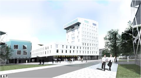 Slik vil hotellet på Utsola se ut i 2016. I løpet av få år planlegger i tillegg fire andre hoteller å etablere seg i Sola.