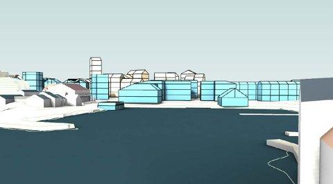 Den blå bebyggelsen er volumillustrasjon basert på vinnerutkastet til BOGL. Det omfatter bebyggelsen på Danielsen-tomten, bussgarasjen, torg og kai.