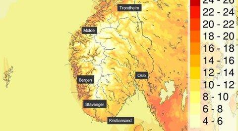 KNALLVÆR: Siste fridag i påsken 2019 byr på nok en nordisk sommerdag i Sør-Norge. Sol og over 20 grader enkelte steder, skriver meteorologene på Twitter.