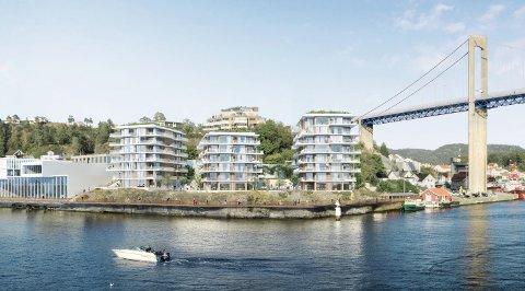 På pynten av Strømtangen er det tiltenkt flere blokker og rekkehus. Til sammen er det tiltenkt 100 boenheter, i tillegg til næringsbygg.