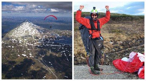 LUFTIG SVEV: Thomas Skarpås og turkameraten fløy hele 251,7 kilometer med paraglider. På bildet til venstre passeres Gaustatoppen i 2.500 meters høyde.