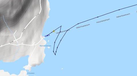 Slik var «Svanøy» sine bevegelser i dag tidlig, ifølge Marinetraffic.com.