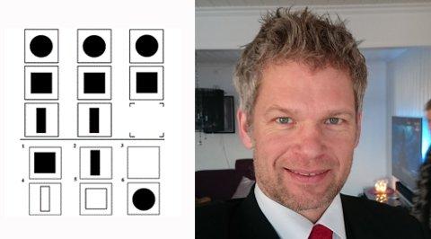 KULT Å VITE IQ: Dagfinn Møller Nielsen er nestleder i Mensa som gir et sosialt og intellektuelt fellesskap for folk med høy intelligens. Ser du hvilken figur som skal inn her? Svaret finner du i bunn av artikkelen.